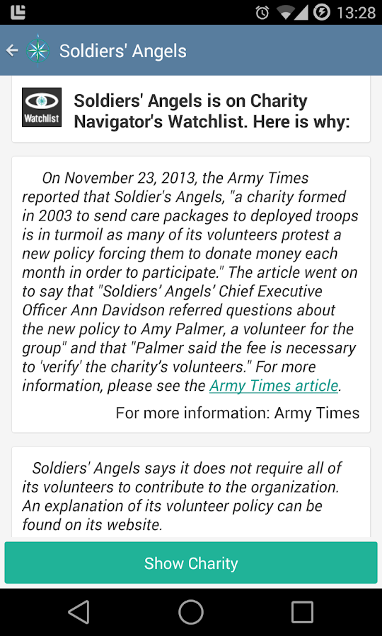 Charity Navigator- screenshot