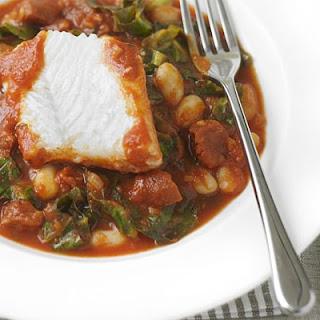 White Fish With Spicy Beans And Chorizo.