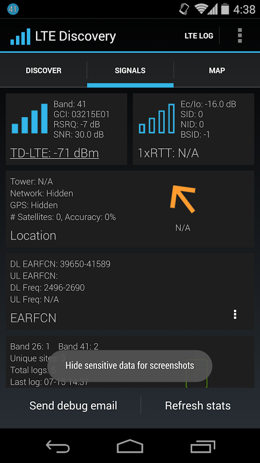 LTE Discovery - screenshot