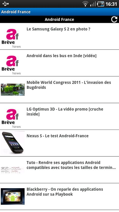 Application Android France - screenshot