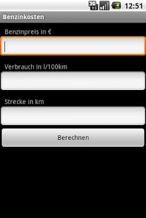 Benzinkostenrechner - screenshot thumbnail