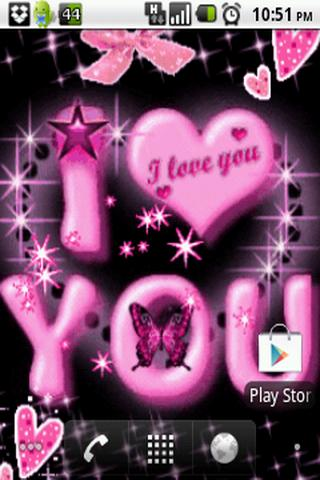 Pink I Love You Live Wallpaper - screenshot