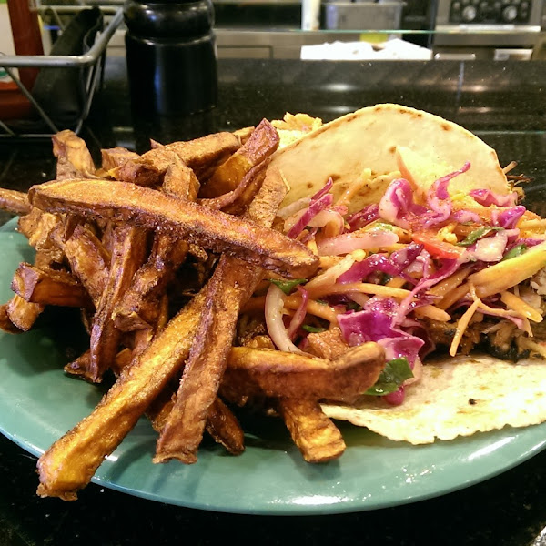Special at the Vue counter, pork tacos with apple slaw and sweet potato fries. Awsome!
