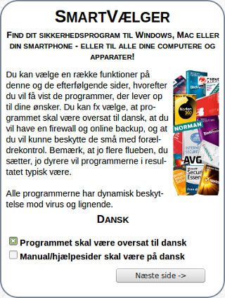 AntiVirus SmartVælger- screenshot