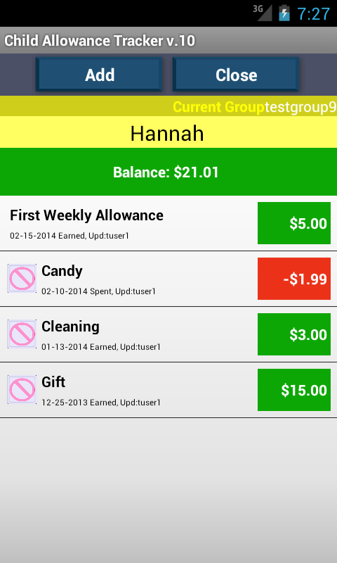 Child Allowance Money Tracker- screenshot