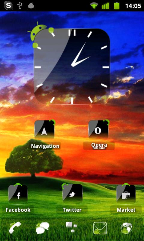 Crystal Black Clock Widget - screenshot