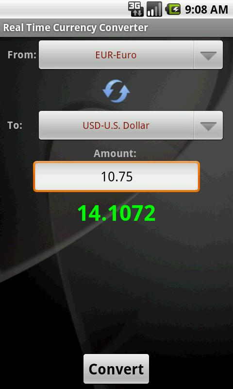 Real Time Currency Converter - screenshot