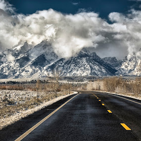 Double Wide by Robert Fawcett - Landscapes Travel ( clouds, wyoming, places, travel, road, landscape, tetons,  )