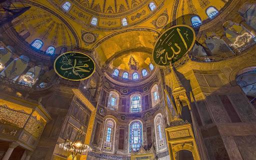 The interior of Hagia Sophia, built in 360 AD. It's now a museum called Ayasofya Müzesi, in Istanbul, Turkey.