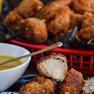 Crunchy Popcorn Chicken Nuggets and Honey Mustard Sauce.