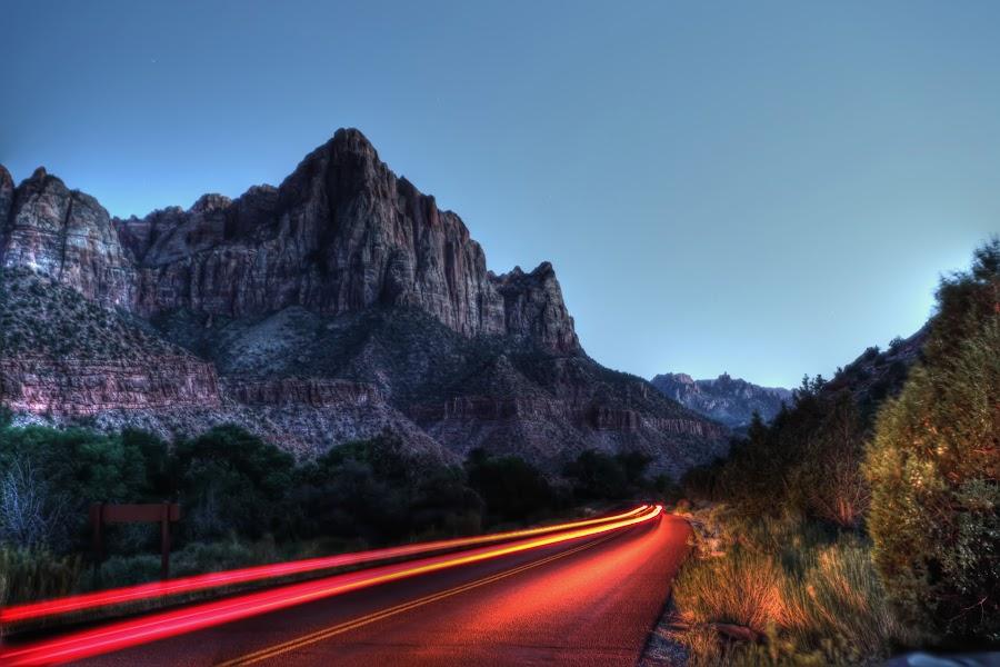 Zion Trail Lights by William Cortes - Landscapes Sunsets & Sunrises ( hills, mountains, national-park, zion, roads )