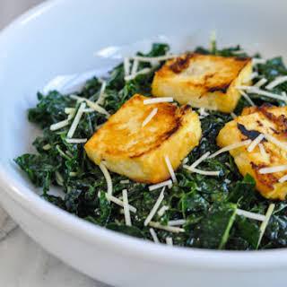 Miso Kale Salad With Miso Roasted Tofu.