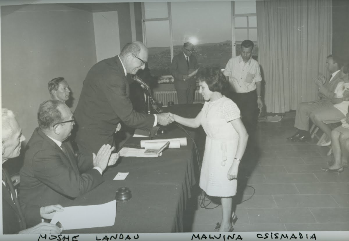 Justice Landau awards the title to Righteous Among the Nations Malvina Csizmadia, 30 October 1967