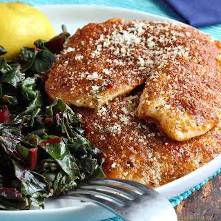 Smoked Paprika-Parmesan Fish with Sautéed Greens.