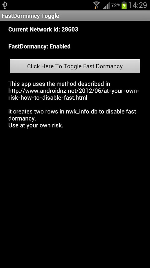 FastDormancy Toggle for i9300 - screenshot