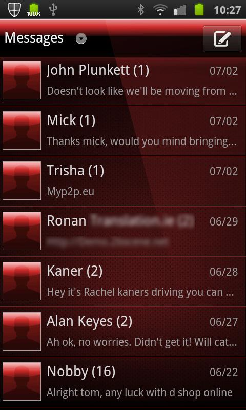 GO SMS PRO THEME Deep Red- screenshot