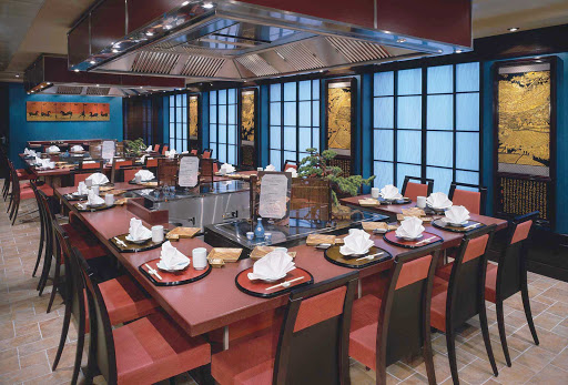 Norwegian-Pride-Of-America-Dining-Teppanyaki - Watch skilled chefs prepare and grill your dishes at Teppanyaki, a hibachi-style Japanese restaurant on Pride of America.