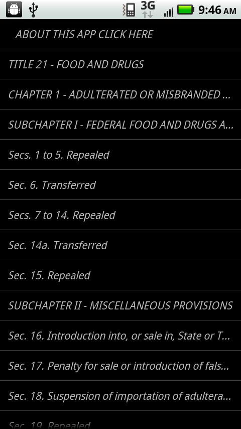 USLaw 21 USC - Food/Drug- screenshot