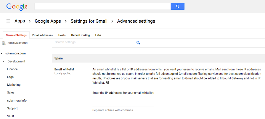Admin console - Advanced Gmail settings