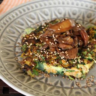 Grain-Free Japanese Pancakes With Sticky Mushrooms [Vegan, Gluten-Free].