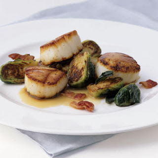 Seared Scallops with Brussels Sprouts and Bacon.