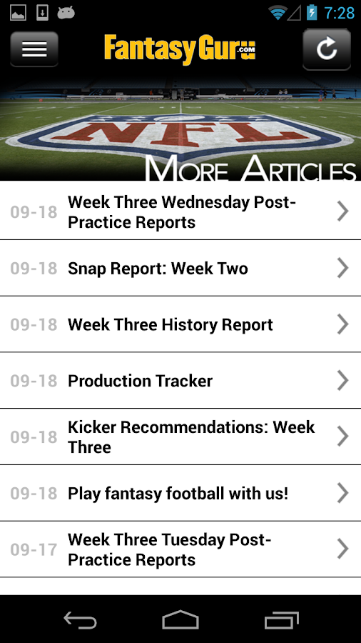 FantasyGuru.com's MyGuru - screenshot