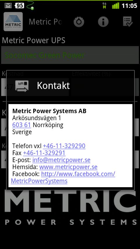 Metric Power- screenshot