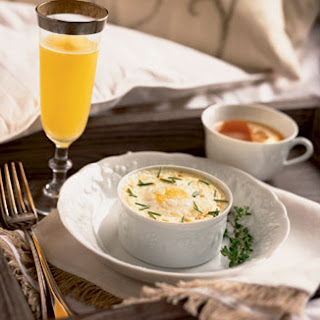 Individual Oven-Coddled Eggs with Mashed Potatoes and Herbs.