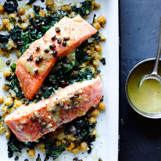 Slow-Cooked Salmon, Chickpeas, and Greens.
