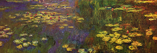 "water-lilies-Claude_Monet - ""Water Lilies,"" aka ""Nymphéas"" (c. 1922), watercolor painting by French Impressionist Claude Monet, can be seen at Musée de l'Orangerie in Paris."