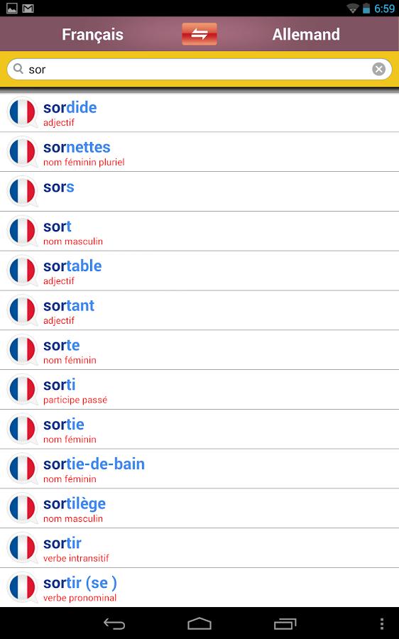 Dictionnaire allemand-français- screenshot