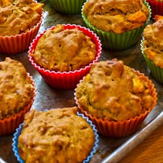 Low Sugar and Whole Wheat Peach Pecan Muffins.