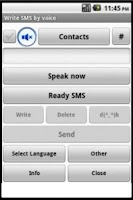 Screenshot of Write SMS and e-mail by voice