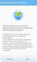 Screenshot of GO SMS Pro Dropbox Backup
