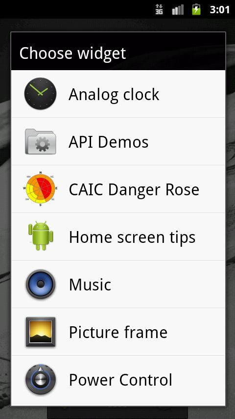 CAIC Danger Rose Widget - screenshot