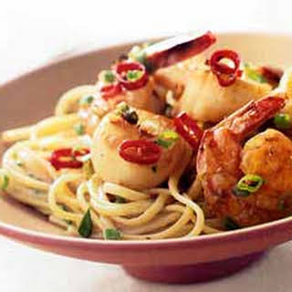 Linguine with Shrimp and Scallops in Thai Green Curry Sauce.