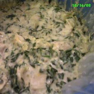 Justine's Artichoke Chicken Spinach Dip.
