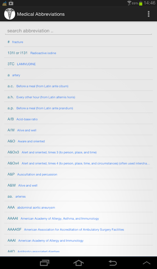 Medical Abbreviations - screenshot