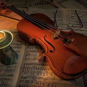 by Petar Shipchanov - Artistic Objects Musical Instruments ( music, sheets, candle, geige, glasses )