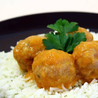 Curried Lamb Meatballs with Basmati Rice.