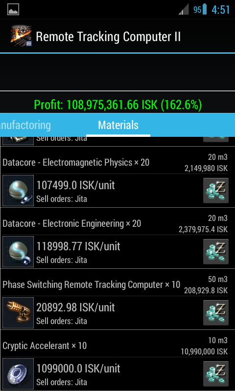 EVE Industry Calculator - screenshot
