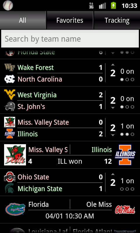 College Baseball Tracker - screenshot