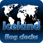Iceland flag clocks