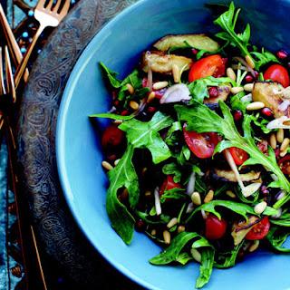 Arugula Salad with Roasted Eggplant and Sweet Pomegranate Dressing