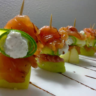Pinchos Trout, Zucchini With Ricotta Cheese And Mint And Ginger Apple.