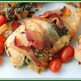 Spinach and Feta Stuffed Chicken wrapped in Bacon.