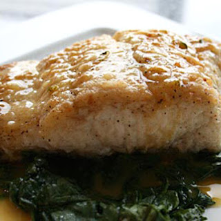 Halibut with Citrus Butter Sauce.