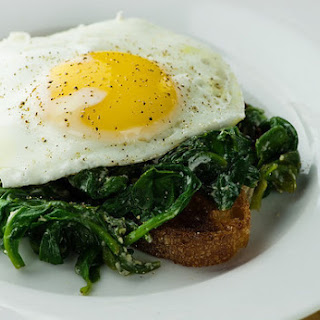 Eggs Florentine with Baby Spinach and Goat Cheese.