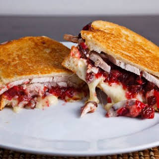 Grilled Turkey and Brie Sandwich with Cranberry Chutney.