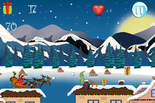 圣诞老人和小精灵屋顶运行